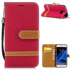 Jeans Cowboy Denim Leather Wallet Case for Samsung Galaxy S7 G930 - Red
