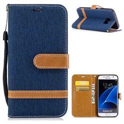 Jeans Cowboy Denim Leather Wallet Case for Samsung Galaxy S7 G930 - Dark Blue