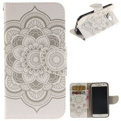 White Flowers PU Leather Wallet Case for Samsung Galaxy S7 G930