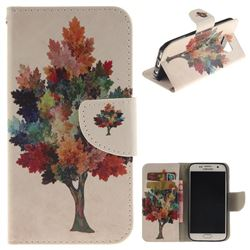 Colored Tree PU Leather Wallet Case for Samsung Galaxy S7 G930
