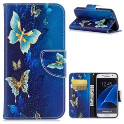 Golden Butterflies Leather Wallet Case for Samsung Galaxy S7 G930