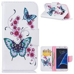 Peach Butterfly Leather Wallet Case for Samsung Galaxy S7 G930