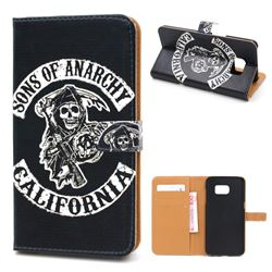 Black Skull Leather Wallet Case for Samsung Galaxy S7 Edge G935