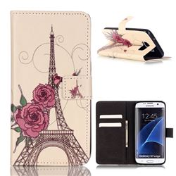 Rose Eiffel Tower Leather Wallet Case for Samsung Galaxy S7 Edge G935