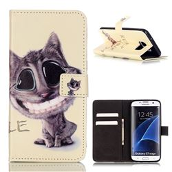 Keep Smiling Cat Leather Wallet Case for Samsung Galaxy S7 Edge G935