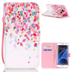 Colored Petals Leather Wallet Case for Samsung Galaxy S7 Edge G935