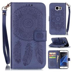 Embossing Campanula Flower Leather Wallet Case for Samsung Galaxy S7 Edge G935 - Dark Blue