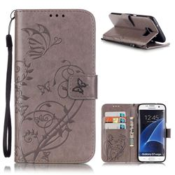 Embossing Butterfly Flower Leather Wallet Case for Samsung Galaxy S7 Edge - Grey