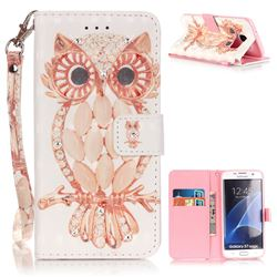 Shell Owl 3D Painted Leather Wallet Case for Samsung Galaxy S7 Edge