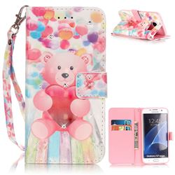 Balloon Bear 3D Painted Leather Wallet Case for Samsung Galaxy S7 Edge