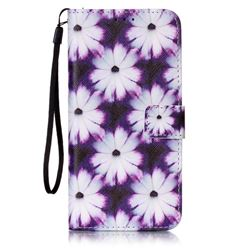 Purple Chrysanthemums Leather Wallet Case for Samsung Galaxy S7 Edge
