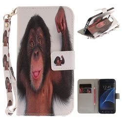 Cute Monkey Hand Strap Leather Wallet Case for Samsung Galaxy S7 Edge s7edge