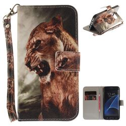 Majestic Lion Hand Strap Leather Wallet Case for Samsung Galaxy S7 Edge s7edge