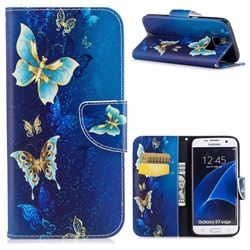 Golden Butterflies Leather Wallet Case for Samsung Galaxy S7 Edge s7edge