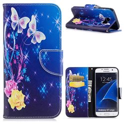 Yellow Flower Butterfly Leather Wallet Case for Samsung Galaxy S7 Edge s7edge