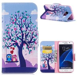 Tree and Owls Leather Wallet Case for Samsung Galaxy S7 Edge s7edge