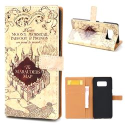 The Marauders Map Leather Wallet Case for Samsung Galaxy S8