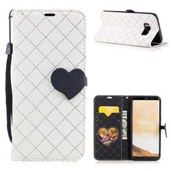 Symphony Checkered Dual Color PU Heart Leather Wallet Case for Samsung Galaxy S8 - White