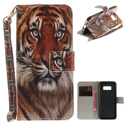 Siberian Tiger Hand Strap Leather Wallet Case for Samsung Galaxy S8