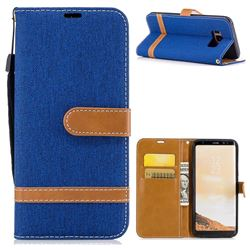 Jeans Cowboy Denim Leather Wallet Case for Samsung Galaxy S8 - Sapphire