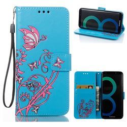 Embossing Narcissus Butterfly Leather Wallet Case for Samsung Galaxy S8 - Blue