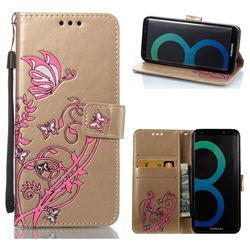 Embossing Narcissus Butterfly Leather Wallet Case for Samsung Galaxy S8 - Golden
