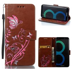 Embossing Narcissus Butterfly Leather Wallet Case for Samsung Galaxy S8 - Brown