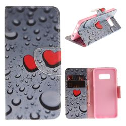 Heart Raindrop PU Leather Wallet Case for Samsung Galaxy S8