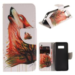 Color Wolf PU Leather Wallet Case for Samsung Galaxy S8