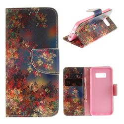 Colored Flowers PU Leather Wallet Case for Samsung Galaxy S8