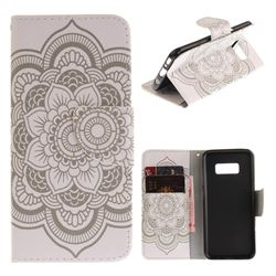 White Flowers PU Leather Wallet Case for Samsung Galaxy S8
