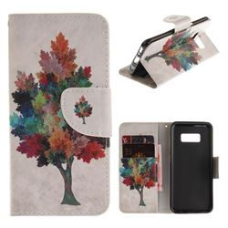 Colored Tree PU Leather Wallet Case for Samsung Galaxy S8