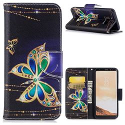 Golden Shining Butterfly Leather Wallet Case for Samsung Galaxy S8