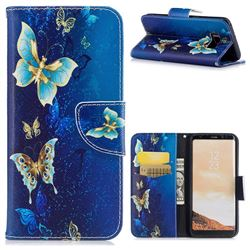 Golden Butterflies Leather Wallet Case for Samsung Galaxy S8