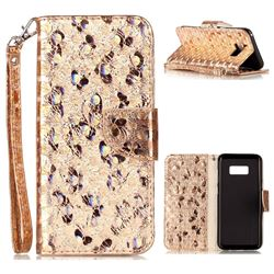 Luxury Laser Butterfly Optical Maser Leather Wallet Case for Samsung Galaxy S8 Plus S8+ - Golden