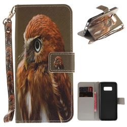 Young Eagle Hand Strap Leather Wallet Case for Samsung Galaxy S8 Plus S8+