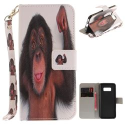Cute Monkey Hand Strap Leather Wallet Case for Samsung Galaxy S8 Plus S8+