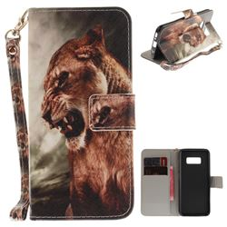 Majestic Lion Hand Strap Leather Wallet Case for Samsung Galaxy S8 Plus S8+