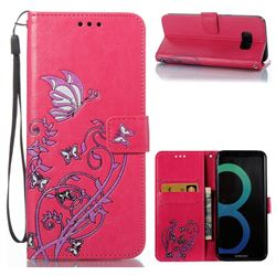 Embossing Narcissus Butterfly Leather Wallet Case for Samsung Galaxy S8 Plus S8+ - Rose