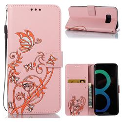 Embossing Narcissus Butterfly Leather Wallet Case for Samsung Galaxy S8 Plus S8+ - Pink