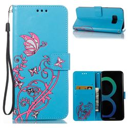 Embossing Narcissus Butterfly Leather Wallet Case for Samsung Galaxy S8 Plus S8+ - Blue