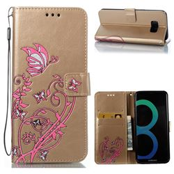 Embossing Narcissus Butterfly Leather Wallet Case for Samsung Galaxy S8 Plus S8+ - Golden