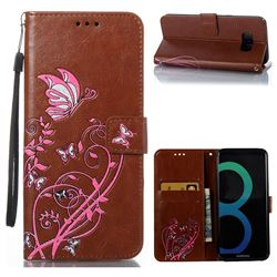 Embossing Narcissus Butterfly Leather Wallet Case for Samsung Galaxy S8 Plus S8+ - Brown