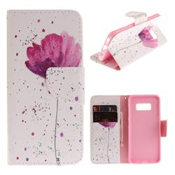 Purple Orchid PU Leather Wallet Case for Samsung Galaxy S8 Plus S8+