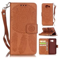 Embossing Campanula Flower Leather Wallet Case for Samsung Galaxy A3 2016 A310 - Brown