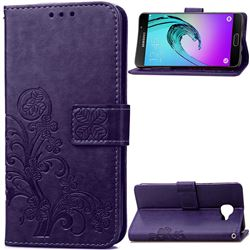 Embossing Imprint Four-Leaf Clover Leather Wallet Case for Samsung Galaxy A3 2016 A310 - Purple