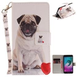 Pug Dog Hand Strap Leather Wallet Case for Samsung Galaxy A3 2016 A310