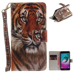 Siberian Tiger Hand Strap Leather Wallet Case for Samsung Galaxy A3 2016 A310