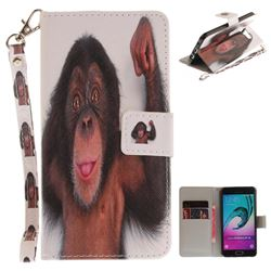 Cute Monkey Hand Strap Leather Wallet Case for Samsung Galaxy A3 2016 A310