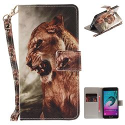 Majestic Lion Hand Strap Leather Wallet Case for Samsung Galaxy A3 2016 A310